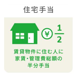 賃貸物件に住む⼈に家賃・管理費総額の半分⼿当